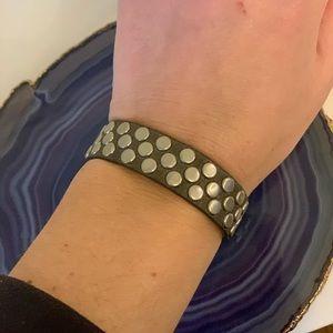 STREETS AHEAD Leather Wrap Bracelet- Silver Studs